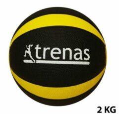 Trenas - Pro Medicijnbal - Medicine bal - Rubber - 2 kg - Zwart-Geel