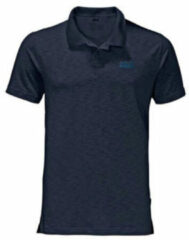 Blauwe Jack Wolfskin Travel Polo Men Shirt Heren - Night Blue