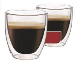 Transparante Espressoglazen dubbelwandig, set van 4 - Maxxo