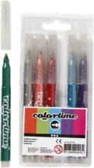 Creativ company Colortime glitterstiften lijndikte: 4 2 mm diverse kleuren 6stuks