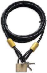 Zwarte Lynx kabelslot 2.5 meter lang | ø10mm x 250cm | Staalkabel met lussen en hangslot | Slot tuinmeubelen terras bootslot