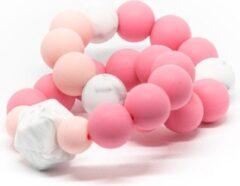 Roze Bijtring Double Lalieloe - Bijtspeelgoed - Kraamcadeau - Koel bijtring - Noor