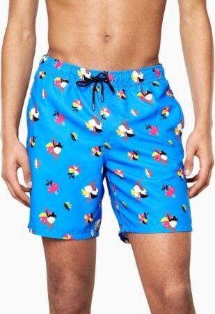Afbeelding van Blauwe Happy Socks Hibiscus Long Swim Shorts
