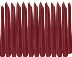 Trend Candles 24x Bordeauxrode dinerkaarsen 25 cm 8 branduren - Geurloze kaarsen - Tafelkaarsen/kandelaarkaarsen