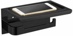 ADW Design Toiletrolhouder met Telefoonplankje Best Design 18x12 cm Mat Zwart (zonder telefoon)