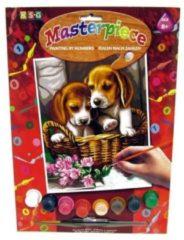 K.S.G Junior Paintings Schilderen op nummer puppy's in rieten mand