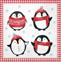 Rode PAW Little Pinguins papieren servetten
