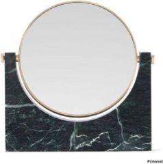 Verno.com Marble Mirror - Donkergroen - Marmeren Make-Up Spiegel - 26,5 x 26 cm