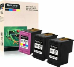 ReYours® Remanufactured Inktcartridge HP 302XL -HP 302 XL - 2x Zwart (20ml) en 1 x Kleur (18ml) -3 pack met chip - inktniveau weergeven