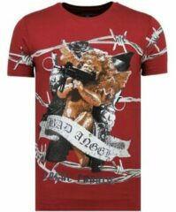Rode Local Fanatic Bad Angel - Funny T shirt Heren - 6318B - Bordeaux - Maten: XL