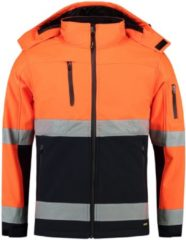 Marineblauwe Tricorp Soft Shell Jack EN471 bi-color - Workwear - 403007 - fluor oranje / navy - Maat M