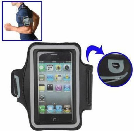 Afbeelding van Zwarte DrPhone Luxe Sportband iPhone 4(S) hardloop Sport Armband Superieur Kwaliteit