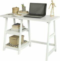 Witte Simpletrade Bureau - Bureautafel - 2 schappen - Hout - 112x50x76 cm