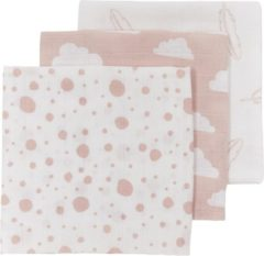 Meyco 3-pack Hydrofiele luiers - Feather-Clouds-Dots - roze