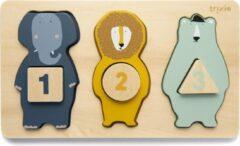 Trixie houten telpuzzel   dieren   Mr. Elephant, Mr. Lion, Mr. Polar Bear   couting puzzle   speelgoed