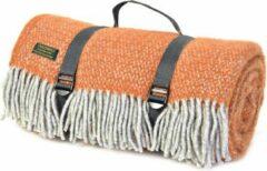 Tweedmill Schitterend picknickkleed Oranje/Grijs |100% nieuw wol met een waterdichte laag | Inclusief handige spanbandjes | Top kwaliteit | Made in the UK