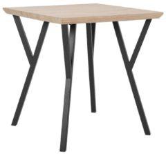 Beliani Eetkamer tafel lichte hout kleur / zwart 70 x 70 cm. BRAVO