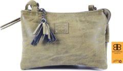 Tas - tasssen - bags - Bag- Bicky Bernard- Harmonica 3-Vaks tasje - schoudertasje - crossbody tasje - Olijf - Olive
