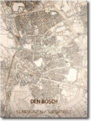 Naturelkleurige Brandthout houten stadskaart Den Bosch 70x50 cm