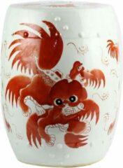 Rode Fine Asianliving Keramische Kruk Wit Fu Dog Porselein Stoel B33xH45cm Handgeschilderd Chinese Meubels Oosterse Kast