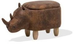 Bruine Beliani Rhino - Hocker - Stof - grijs - 60x32x35