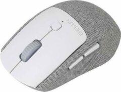 Delux M520GX draadloze muis met verwijderbare stoffen bekleding - Grijs/Wit