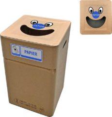 Naturelkleurige Afvalbox Kartonnen afvalbak Papier type smile (herbruikbaar)