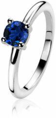 Zinzi ZIR1300Q Ring zilver met blauwe zirconia Maat 54
