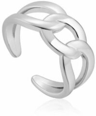 Ania Haie Wide Curb Chain ring van gerhodineerd zilver