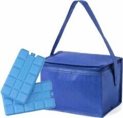 Merkloos / Sans marque Kleine mini koeltas blauw 6 blikjes inclusief 2 koelelementen - Compacte koelboxen/koeltassen en elementen