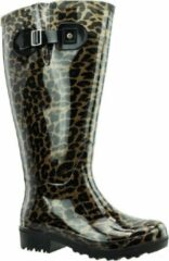 Regenlaars Bruin Beige Leopard WIDE WELLIES Kuitomvang 45 cm XL maat 39