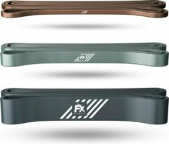 Grijze FX FFEXS Pull up band weerstandsbanden fitness set van 3 - Weerstandsband elastiek heavy medium and light - Resistance bands power workout gear gewichtheffen