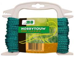 Merkloos / Sans marque Groen touw/draad 4 mm x 20 meter - Hobby/klus touw gedraaid - Dik en stevig touw voor binnen en buiten gebruik