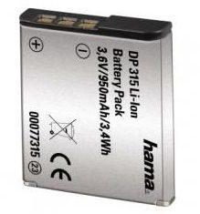 Zwarte Oplaadbare accu voor digitale camera, Hama, »Info-chip Li-Ion-accu DP 315 voor Sony«