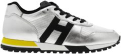 Argento HOGAN Sneakers Stringata In Pelle Laminata Con Big H