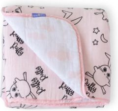 Milk & Moo Milk&Moo Wikkeldeken Baby - Omslagdoek Baby - Swaddle - Inbakerdoek - Mousseline - Roze