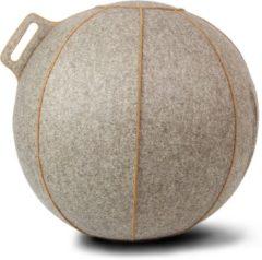 Zitbal - Velt - met bruine stiknaden - Ø70-75 - Greige - Vluv