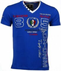 David Copper Italiaanse T-shirt - Korte Mouwen Heren - Borduur Automobile Club - Blauw Heren T-shirt S