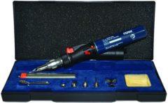 Zilveren FERM SGM1006 Soldeerpistool/soldeerbrander - brandduur 35 min. - Max. temperatuur 375°C - Incl. 8 accessoires