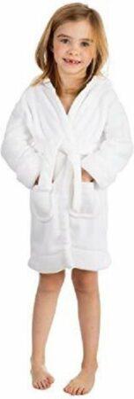 Afbeelding van Elowel kamerjas (baadjas) met capuchon voor jongens en meisjes wit (maat 3 Jaar)