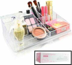 XXL Make up Organizer met 9 Vakken - Make-up Organizer Transparant - Sieraden Makeup Cosmetica Opbergsysteem - Display Houder voor Lippenstift / Nagellak / Brushes / Visagie - Make up kwasten / Sieraden etc. - Decopatent®
