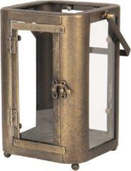 Clayre & Eef Windlicht 6Y3584 19*15*23/33 cm Bruin Ijzer Rechthoek Kaarsenhouder Sfeerverlichting