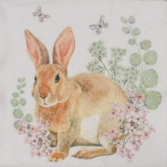 Sia Home fashion Servetten Rosi Rabbit 33 x 33 cm