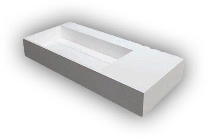 Afbeelding van Douche Concurrent Wastafel Hangend Q90 Rechthoek 90x59x13cm Solid Surface Glans Wit Zonder Kraangat met Waste