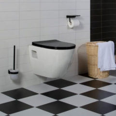 Witte Diamond Line Wandcloset - Hangend Toilet Daley Flatline Zwart - Inbouwtoilet Rimfree WC Pot