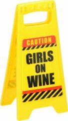 Eddy Toys Waarschuwingsbord Girls On Wine 24,5 Cm Geel