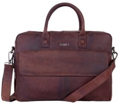 Bruine DSTRCT DSTRCT Wall Street Leren Business Laptoptas 17 inch Brown