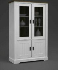 Witte Fineliving Landelijke Glaskast white wash Coventry 120 cm