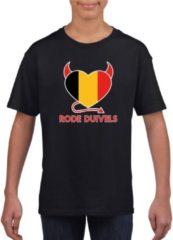 Shoppartners Zwart Belgie rode duivels hart supporter shirt kinderen - Belgisch shirt jongens en meisjes XL (158-164)