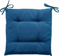 Hespéride Hesperide Stoelkussens Korai indigo blauw met lintjes - Waterafstotend - Afneembare hoes - 4 knopen - 40 x 40 cm